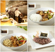 grilled tofu with steamed rice, teriyaki chicken with fried rice, beef tataki
