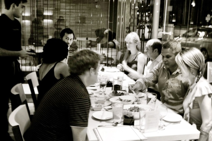 """""""Rehearsal"""" media dinner. Notice how I'm enthralled by my conversation with Jamie"""